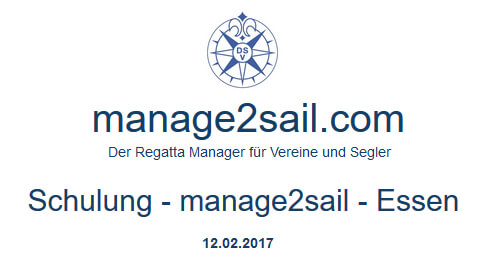manage2sail Schulung am 12.02.2017 in Essen.